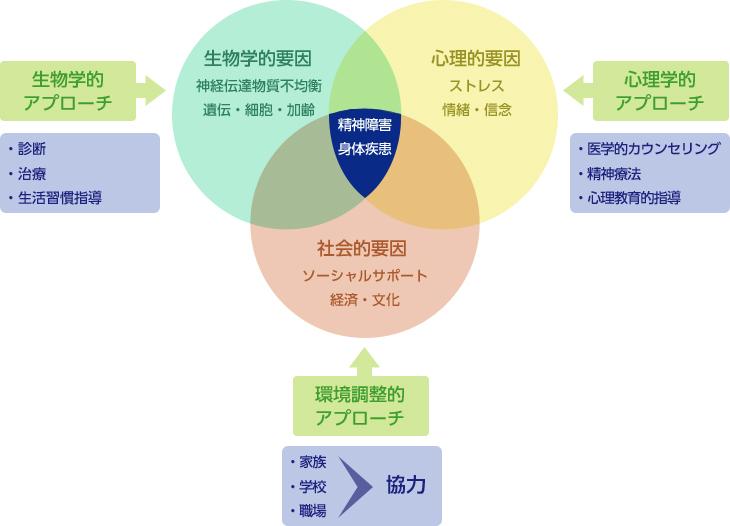 生物的アプローチ・心理的アプローチ・環境調整的アプローチ 図